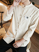 cheap Men's Shirts-Men's Party / Club Linen Shirt - Solid Colored / Embroidery Embroidered Standing Collar / Long Sleeve