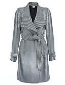 cheap Women's Blazers & Jackets-Women's Vintage Long Cotton Coat - Striped / Houndstooth V Neck