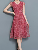 cheap Casual Dresses-Women's Plus Size Sheath Dress Print V Neck