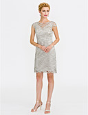 cheap Mother of the Bride Dresses-Sheath / Column Illusion Neck Knee Length All Over Lace / Lace Over Satin Mother of the Bride Dress with Lace by LAN TING BRIDE®