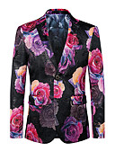 cheap Men's Blazers & Suits-Men's Club / Party / Cocktail Street chic / Punk & Gothic / Sophisticated Spring / Fall Plus Size Regular Blazer, Floral V Neck Long Sleeve Cotton / Polyester Oversized / Print Red 4XL / XXXXXL