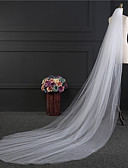 cheap Wedding Veils-Two-tier Cut Edge Wedding Veil Blusher Veils / Elbow Veils / Cathedral Veils with Ruffles Tulle / Angel cut / Waterfall
