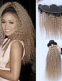 זול עניבות ועניבות פרפר לגברים-3 חבילות עם סגירה שיער ברזיאלי Kinky Curly שיער ראמי Ombre Ombre שוזרת שיער אנושי תוספות שיער אדם / קינקי קרלי