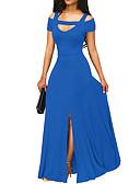 povoljno Ženske haljine-Žene Party Širok kroj Haljina Jednobojni V izrez Maxi
