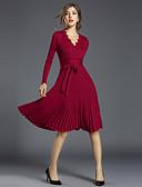 baratos Vestidos Femininos-Mulheres Vintage / Sofisticado Delgado Evasê Vestido Sólido Decote V Acima do Joelho