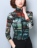 cheap Women's T-shirts-Women's Going out Plus Size Cotton T-shirt - Abstract Patchwork / Print Turtleneck / Fall / Winter