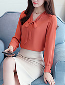 cheap Women's Blouses-Women's Blouse - Solid Colored Bow V Neck / Spring / Fall