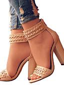 baratos Moda Íntima Exótica para Homens-Mulheres Sapatos Couro Ecológico Primavera / Verão Conforto / Inovador Sandálias Dedo Aberto Ziper Preto / Bege / Casamento