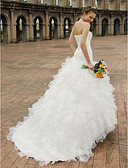 povoljno Vjenčanice-Princeza Srcoliki izrez Dugi šlep Organza / Saten Izrađene su mjere za vjenčanja s Perlica / Drapirano padajuće / Ukriženo po LAN TING