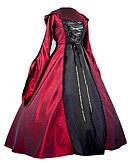 levne Kostýmy z dávných časů-Gothic Lolita / Gothic / Středověké Kostým Dámské Šaty / Kostým na Večírek / Maškarní Červená Retro Cosplay Satén bez vzoru Dlouhý rukáv Balonové Na zem
