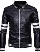 cheap Men's Jackets & Coats-Men's Daily Street chic Winter Regular Jacket, Color Block Stand Long Sleeve Polyester White / Black L / XL / XXL