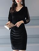 cheap Women's Dresses-Women's Velvet Plus Size Daily Slim Sheath Dress Black, Print V Neck Fall Black Dark Gray Light Brown XL XXL XXXL