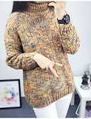cheap Women's Sweaters-Women's Long Sleeves Pullover Print Turtleneck
