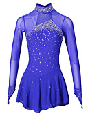 abordables Robe de Patinage-Robe de Patinage Artistique Femme Fille Patinage Robes Aigue-Marine Spandex Elasthanne Compétition Tenue de Patinage Fait à la main A Bijoux Strass Manches Longues Patinage sur glace Patinage