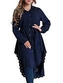 baratos Suéteres de Mulher-Mulheres Camisa Social Sólido Decote V