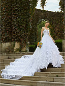 cheap Wedding Dresses-Ball Gown Strapless Cathedral Train Satin / Tulle / Floral Lace Made-To-Measure Wedding Dresses with Appliques / Crystals by LAN TING