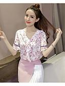 ieftine Rochii de Damă-Pentru femei În V Bluză Ieșire Bumbac Floral