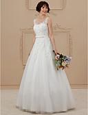 baratos Vestidos de Casamento-Linha A Ilusão Decote Longo Renda / Tule Vestidos de casamento feitos à medida com Miçangas / Apliques de LAN TING BRIDE® / Sem costas