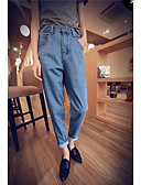 cheap Women's Pants-Women's Basic Cotton Loose Skinny / Harem / Jeans Pants - Solid Colored High Rise / Spring / Fall