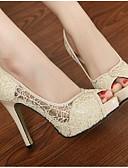 זול טישרט-בגדי ריקוד נשים נעליים עור אביב / סתיו בלרינה בייסיק עקבים עקב סטילטו שחור / בז'