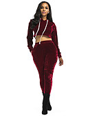 cheap Women's Two Piece Sets-Women's Short Hoodie - Solid Colored Pant Hooded
