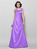 cheap Mother of the Bride Dresses-A-Line Jewel Neck Floor Length Satin Mother of the Bride Dress with Beading / Appliques / Side Draping by LAN TING BRIDE®