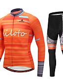 preiswerte Bedruckte Kleider-Miloto Herrn Langarm Fahrradtrikots mit Fahrradhosen - Orange Fahhrad Sportkleidung Winter Sport Bergradfahren Straßenradfahren Bekleidung