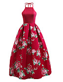 cheap Vintage Dresses-Women's Party / Going out Vintage / Street chic Swing Dress - Floral Red, Backless Crew Neck