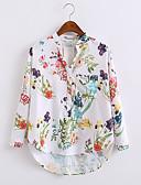baratos Camisas Femininas-Mulheres Camisa Social - Para Noite Floral Algodão Colarinho Chinês / Primavera / Outono