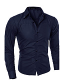 זול חולצות לגברים-אחיד צווארון קלאסי רזה עסקים סוף שבוע חולצה - בגדי ריקוד גברים כותנה