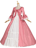 cheap Historical & Vintage Costumes-Medieval / Renaissance Costume Women's Dress / Party Costume / Masquerade Pink Vintage Cosplay Cotton / Other Long Sleeve Cap Sleeve