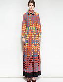 preiswerte Damen Kleider-Damen Swing Kleid - Druck Maxi Hemdkragen