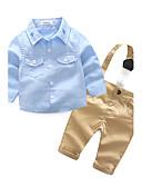 זול סטים של ביגוד לבנים-סט של בגדים שרוול ארוך צבע אחיד / רקמה בנים תִינוֹק