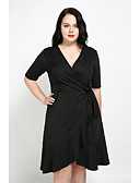 cheap Historical & Vintage Costumes-Women's Plus Size Daily Street chic A Line Dress - Solid Colored Ruffle V Neck Fall Cotton Black Pink XXXXL XXXXXL XXXXXXL