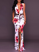 cheap Women's Jumpsuits & Rompers-Women's Party Bodycon Dress - Floral White, Split Maxi Deep V
