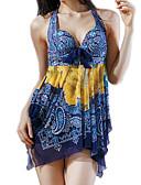 رخيصةأون ملابس السباحة والبيكيني 2017 للنساء-ثلاثة قطع نسائي طباعة مكعبات الألوان قبة مرتفعة حول الرقبة