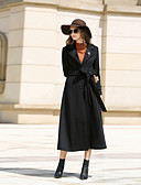 cheap Women's Leather & Faux Leather Jackets-Women's Daily / Work Vintage Fall / Winter Long Coat, Solid Colored Notch Lapel Long Sleeve Cashmere / Wool / Polyester Green / Black / Gray XL / XXL / XXXL