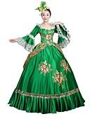 billige Antrekk til latindans-Rokoko Victoriansk Kostume Dame Party-kostyme Maskerade Grønn Vintage Cosplay Satin Langermet Gulvlang Halloween-kostymer / Blomstret