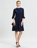 cheap Mother of the Bride Dresses-A-Line Jewel Neck Knee Length Chiffon / Corded Lace Mother of the Bride Dress with Lace / Pleats by LAN TING BRIDE® / Poet Sleeve / Wrap Included