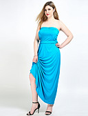 cheap Women's Dresses-Cute Ann Women's Plus Size Vintage Loose Shift Tunic Dress - Solid Colored Maxi Strapless