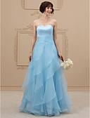 olcso Menyasszonyi ruhák-A-vonalú Szív-alakú Földig érő Organza / Szatén Made-to-measure esküvői ruhák val vel Selyemövek / Szalagok / Fodros által LAN TING BRIDE® / Színes menyasszonyi ruhák / Open Back
