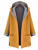 cheap Women's Coats & Trench Coats-Women's Street chic Plus Size Coat-Solid Colored