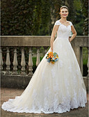 cheap Wedding Dresses-Ball Gown Queen Anne Cathedral Train Lace Over Tulle Made-To-Measure Wedding Dresses with Beading / Appliques by LAN TING BRIDE®