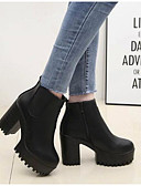 ieftine Bluze Damă-Pentru femei Pantofi Nappa Leather Iarnă Cizme de Combat Cizme Toc Îndesat Cizme / Cizme la Gleznă Negru
