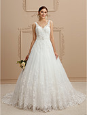 cheap Wedding Dresses-Ball Gown V Neck Court Train Tulle / Beaded Lace / Lace Over Tulle Made-To-Measure Wedding Dresses with Beading / Appliques by LAN TING BRIDE® / Open Back