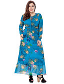 cheap Women's Dresses-Women's Plus Size Going out Sophisticated Loose Sheath Swing Dress - Floral Cut Out High Rise Maxi