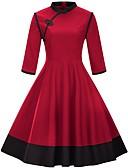 baratos Vestidos Plus Size-Mulheres Tamanhos Grandes Algodão Calças - Estampa Colorida Vermelho Preto / Festa / Gola Alta