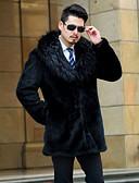 رخيصةأون معاطف و معاطف مطر رجالي-طويلة معطف فرو رجالي لون سادة, قبعة القميص فرو / كم طويل