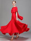 baratos Vestidos para Madrinhas-Dança de Salão Vestidos Mulheres Espetáculo Seda Sintética Fru-Fru Natural Vestido