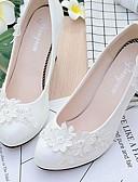 olcso Menyasszonyi ruhák-Női Cipő Csipke / Bőrutánzat Tavasz / Ősz Kényelmes Esküvői cipők Kerek orrú Strasszkő / Hamis gyöngy / Rátétek Fehér / Glitter